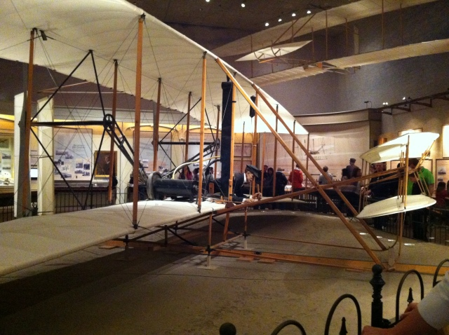 "1903 Wright Flyer. It was the first powered aircraft that was ""heavier-than-air"" that made flight with pilot aboard it."